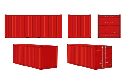 Container cargo. Red container front, side and perspective view, trans