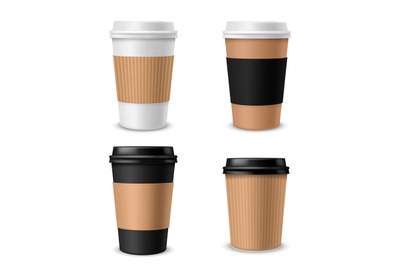 Cups coffee paper. Realistic takeaway cup with plastic cap, blank brow