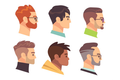 Flat male head profile. Different men heads with different hairstyles