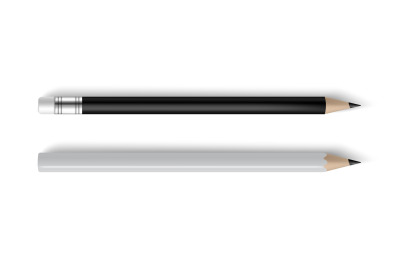Pencils realistic black and white with and without eraser. Business or