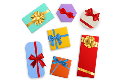 Box with bows. Gifts color boxes with red, blue and gold ribbons, birt