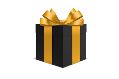 Box with gold bow black gift. Realistic party surprise 3D. Black frida