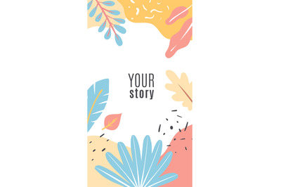 Design floral cover stories. Blue and orange tropical leaves and exoti