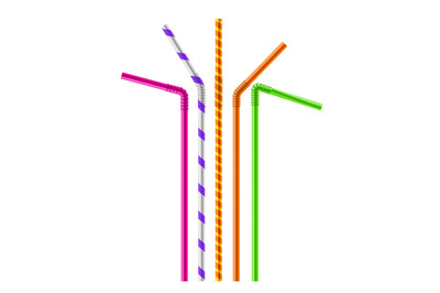 Drink color straw. Realistic beverage bright plastic pipes with patter