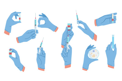 Medical hands. Arms in aseptic surgical gloves blue color, vaccination