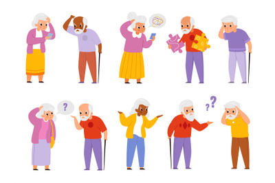 Dementia people. Old men and women suffering memory loss, age-related