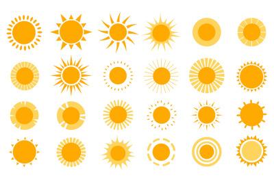 Sun icons. Modern simple seasons signs, summer emblems, sunshine silho