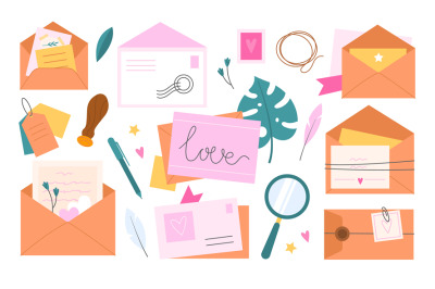 Letters postcards. Envelopes with tags and greeting cards, cute romant