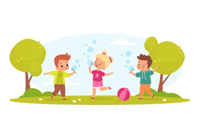 Kids blow bubbles. Funny boys and girl play with soap air balls outdoo