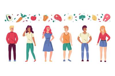 Diet people. Healthy lifestyle, slender sport men and women, keto eati