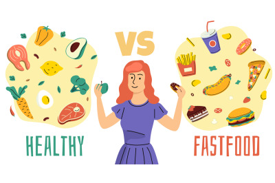 Healthy unhealthy food. Girl chooses between proper nutrition and fast
