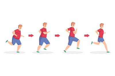 Weight loss stages. Running man, healthy sport lifestyle, diet and phy