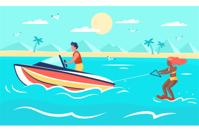 Sea extreme. Summer beach sport, woman on water skis, young man drives