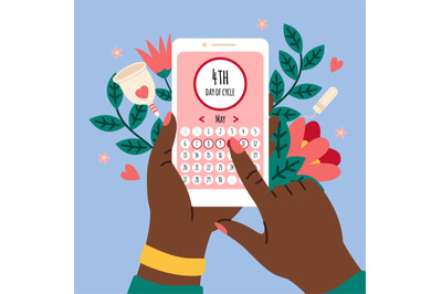 Menstrual calendar. Smartphone application with female cycle calendar,