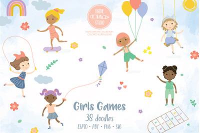 Girls Playing Games, Cute Paper Doll, Multi skin tone, Hairdo
