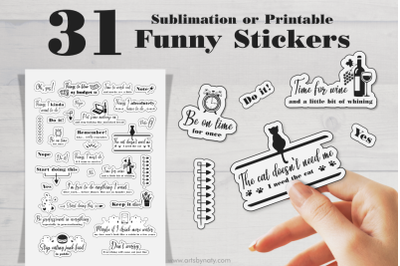 Sublimation or Printable Funny Stickers for planners.