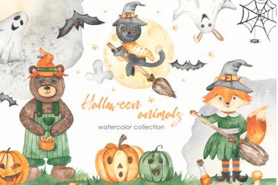 Halloween animals watercolor