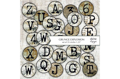 "GRUNGE EXPLOSION - Set of 35 Printable 1.25"" Circle Tags"