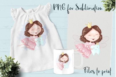 Tooth Fairy sublimation. Design for printing.
