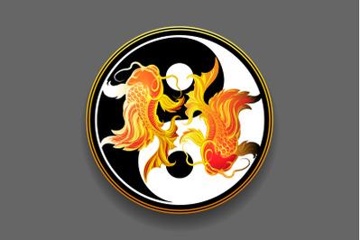 Two koi carp fishes in the circle of yin yang symbol. Tattoo. Black an