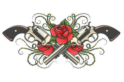 Two Guns and Roses with Thorns Tattoo