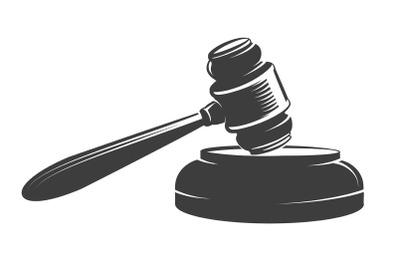 Judge Gavel Emblem Drawn in Engraving Style