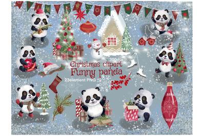 Christmas Clipart watercolor,panda watercolor clip art,winter watercol