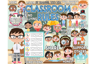 Classroom Rules Clipart - Lime and Kiwi Designs