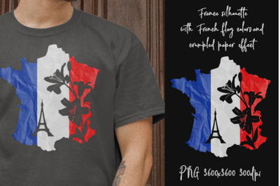 Map of France. Sublimation