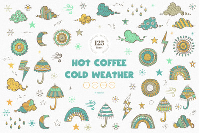 Hot Coffee Cold Weather Vector Illustrations