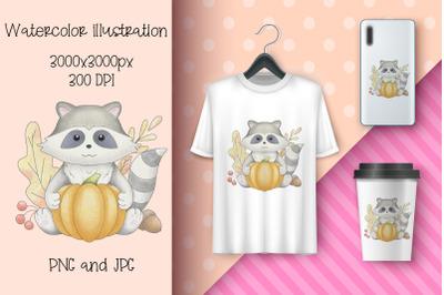 Watercolor illustration Raccoon and pumpkin.Autumn sub