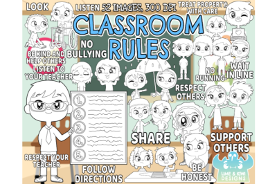 Classroom Rules Digital Stamps - Lime and Kiwi Designs