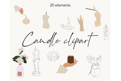 Logo elements, candle design, aesthetic elements, Candle clipart, body