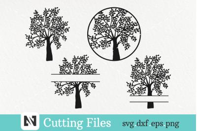 4 Tree Silhouette Svg Bundle-Bundle of 4 Family Tree Svg