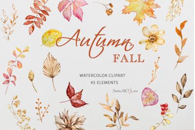 Watercolor Autumn Leaves Clipart