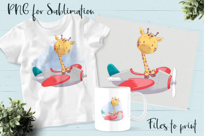 Cute Giraffe sublimation. Design for printing.