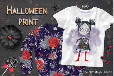 Halloween Vampire girl sublimation. Design for printing.
