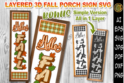 3D Hello Fall Multi-Layered Design Vertical Home Porch Sign SVG