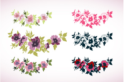 Hand drawn Cherry branches with flowers isolated background. Line art