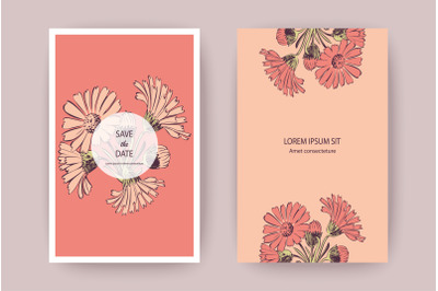 Hand drawn Chrysanthemum flowers greeting card, artistic vector illust