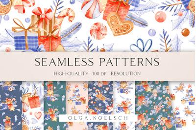 Winter gift seamless pattern for fabric, Seamless Christmas digital pa