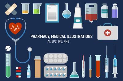 Pharmacy, medical icons set