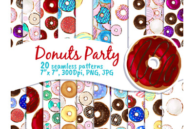 Donut party seamless pattern