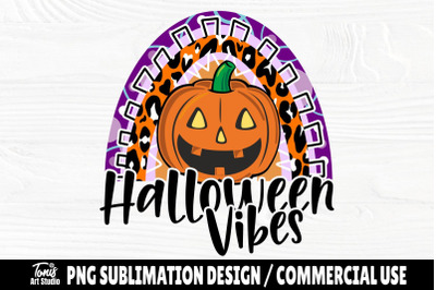 Halloween Vibes Rainbow PNG Sublimation Design Png