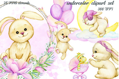 Watercolor animals, cute bunnies pose clipart, Balloons, Clouds, moon,