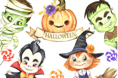 Halloween characters watercolor clipart. Zombie, witch, vampire