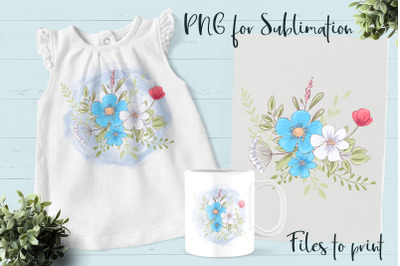 Blue Flowers sublimation. Design for printing.