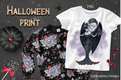 Halloween Vampire sublimation. Design for printing.