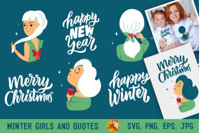 Winter girls. Christmas woman bundle
