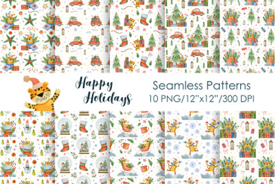 Watercolor new year seamless patterns, merry christmas.